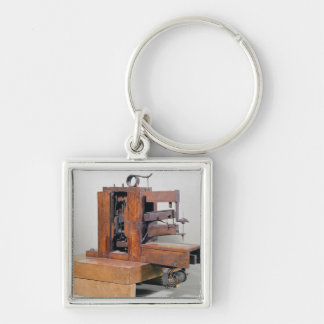 Couseuse', the first sewing machine, 1830 Silver-Colored square key ring