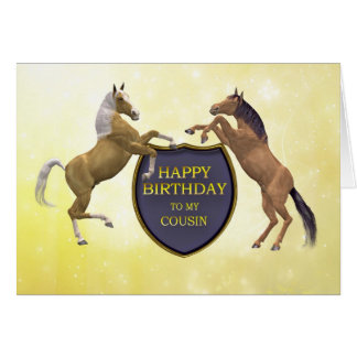 Cousin, a birthday card with rearing horses