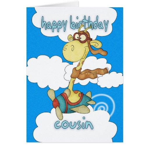 Cousin Aeroplane / Airplane Giraffe Birthday Card