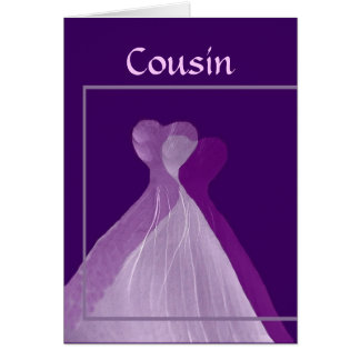 COUSIN Be My Bridesmaid with Purple Gowns Card