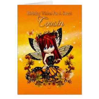 cousin birthday card - birthday autumn color fairy
