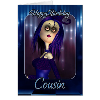 Cousin Birthday Card - Moonies Cute Rag Doll Goth