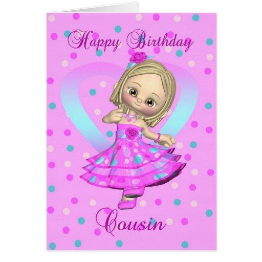 cousin birthday card - pink and blue polka dot