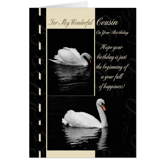 Cousin Birthday Card Swans