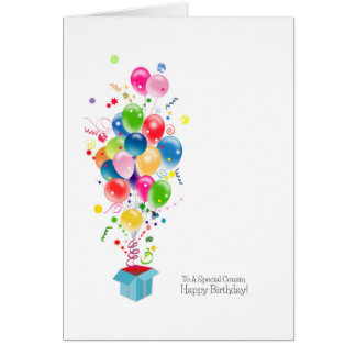 Cousin Birthday Cards, Colorful Balloons In Box
