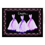 COUSIN - Bridesmaid Invitation PURPLE Gowns
