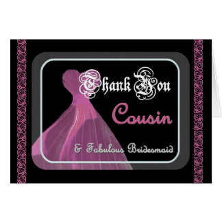 COUSIN Bridesmaid THANK YOU - Purple Gown and Lace Card