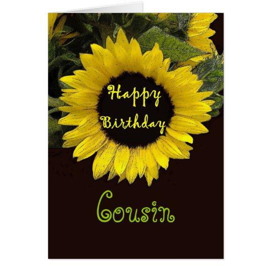 COUSIN Custom Name Happy Birthday Sunflower Card