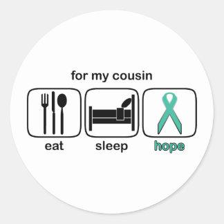 Cousin Eat Sleep Hope - Ovarian Round Sticker