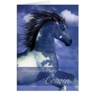 Cousin Equine Birthday Card North American Indian