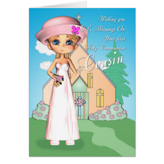 Cousin first holy communion little girl and church card