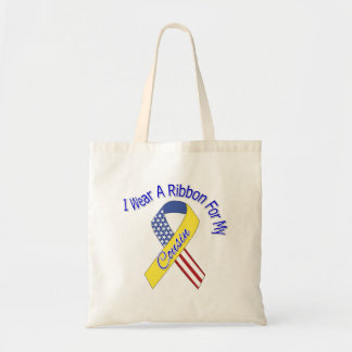 Cousin - I Wear A Ribbon Military Patriotic Tote Bags