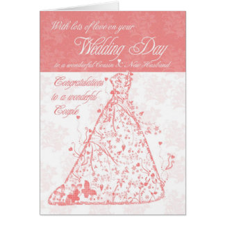 Cousin & New Husband wedding day congratulations Card