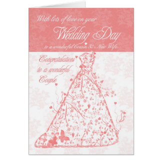 Cousin & New Wife wedding day congratulations Card