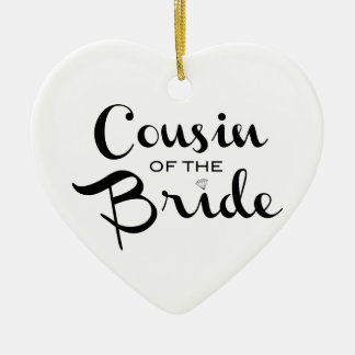 Cousin of Bride Black on White Christmas Ornament