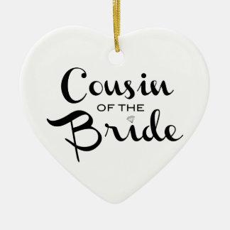 Cousin of Bride Black on White Christmas Ornament