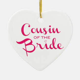 Cousin of Bride Pink White Christmas Ornament