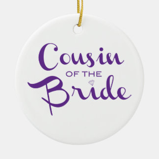 Cousin of Bride Purple on White Christmas Tree Ornament