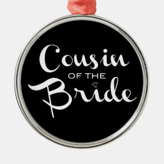 Cousin of Bride White on Black Christmas Tree Ornament