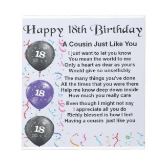 Cousin Poem 18th Birthday Notepad