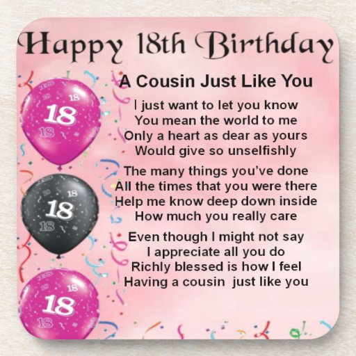 Cousin Poem 18th Birthday Pink Drink Coaster
