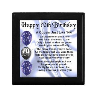 Cousin poem 70th Birthday Gift Box