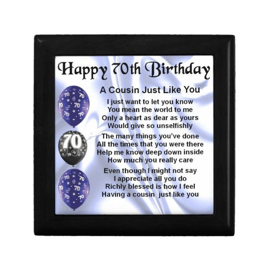 Cousin poem 70th Birthday Gift Box