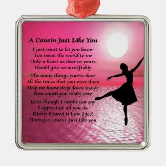 Cousin Poem - Ballerina Silver-Colored Square Decoration
