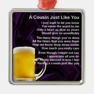 Cousin poem - Beer Design Christmas Ornament