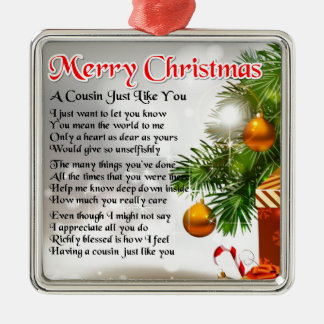 Cousin Poem  -  Christmas design Christmas Ornament