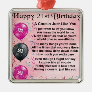 Cousin Poem - Pink- 21st birthday Christmas Ornament