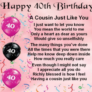 Cousins 40th Birthday Gifts Gift Ideas