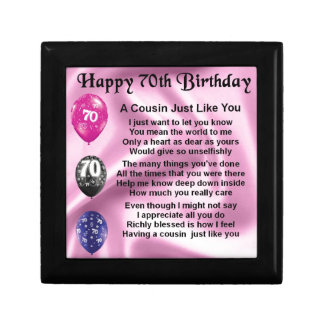 Cousin Poem - Pink- 70th Birthday Jewelry Box