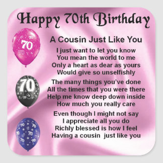 Cousin Poem - Pink- 70th Birthday Square Sticker