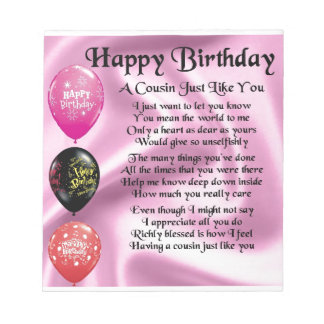 Cousin poem - pink - Happy Birthday Notepad