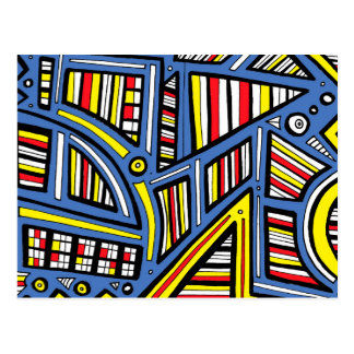 Cousino Abstract Expression Yellow Blue Postcard