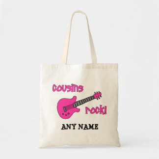 Cousins Rock! with Pink Guitar Tote Bag
