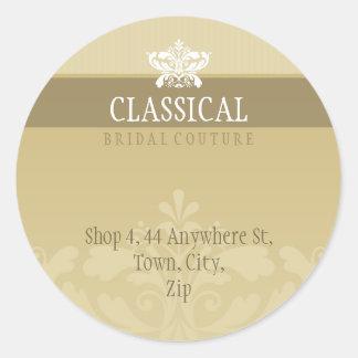 COUTURE ADDRESS LABEL :: classy flourish 1 Round Sticker