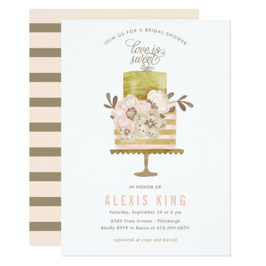 Couture Cake Gold Bridal Shower Invitation