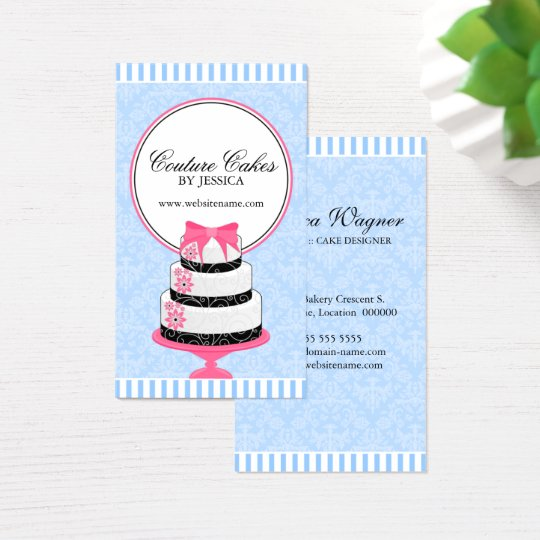 Couture Cakes Bakery Blue Business Card