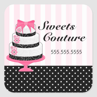 Couture Cakes Bakery Box Seals Square Sticker