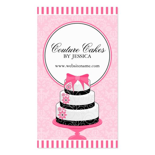 Premium bakery business card templates page8 couture cakes bakery pink business cards reheart Choice Image