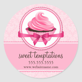 Couture Cupcake Bakery Box Seals Round Sticker