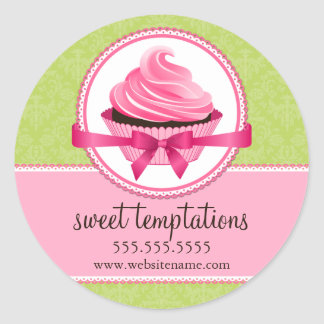 Couture Cupcake Bakery Box Seals Round Sticker