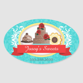 Couture Cupcake Bakery Box Seals Oval Sticker