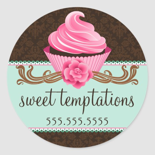 Couture Cupcake Bakery Classic Round Sticker