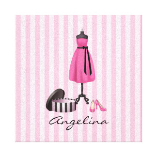 Couture Pink Dress with your Name - Canvas Gallery Wrapped Canvas