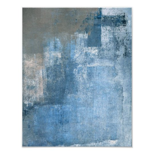'Cove' Blue and Grey Abstract Art Poster Print
