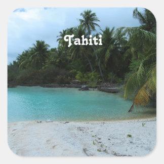 Cove in Tahiti Square Stickers