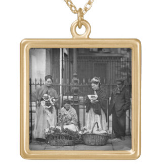Covent Garden Flower Women, from 'Street Life in L Gold Plated Necklace
